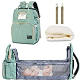 HappyLuoka Green Diaper Bag Backpack with Changing Station Cyan