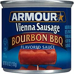 Includes twenty-four (24) 4.6-ounce cans of Armour Star Bourbon Barbecue Flavored Vienna Sausage Made with chicken, beef and pork added, enjoy a Vienna sausage with a thick, rich bourbon flavor Try heating it over the campfire or on the grill Ready t...