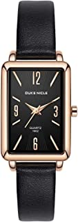 Women Rectangle Quartz Analog Watch with Leather Band