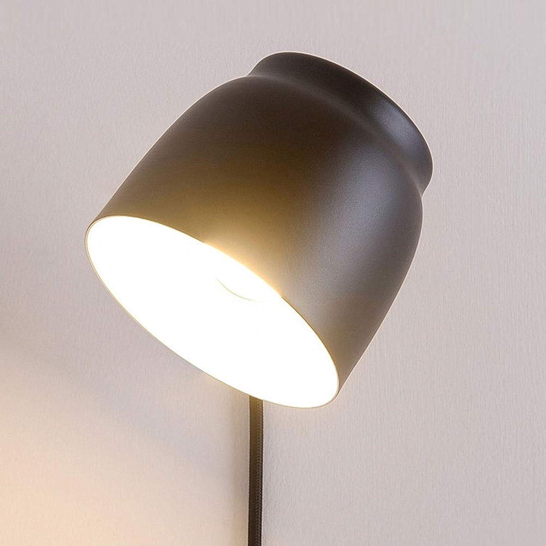 Rindasr Schlafzimmerwandleuchte Nachttischlampe Wohnzimmer kreative einfache Moderne nordische Lesung drehbar mit Schalterstecker offene Linie (Farbe   Schwarz)
