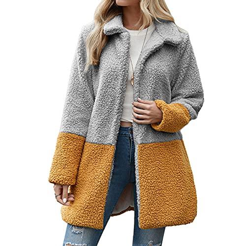 Autunno E Inverno Moda Casual da Donna Risvolto Tinta Unita Peluche Cuciture A Contrasto Cardigan A Maniche Lunghe Giacca Cappotto di Media Lunghezza Donna