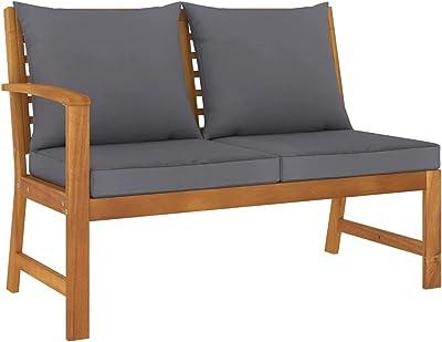 vidaXL Solid Acacia Wood Garden Bench Outdoor Patio Terrace Backyard Seating Seat Sitting Chair Furniture 114.5cm with Dark Grey Cushion