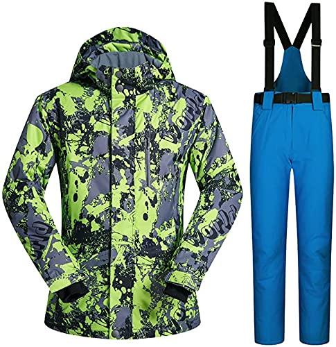 TIANYOU Hombres Chaqueta de Esquí Chaqueta con Capucha + Pantalones de Esquí Dos Juegos de Impermeable Resistente Al Viento Cálido un Juego de la Nieve Sobretodo Traje de Esquiar Chaque
