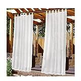 Cortina para exteriores para patio, parte superior con lengüeta adhesiva desmontable para colgar y desenganchar fácilmente, porche exterior impermeable, cortina blanca para interior y exterior, 52 x 9