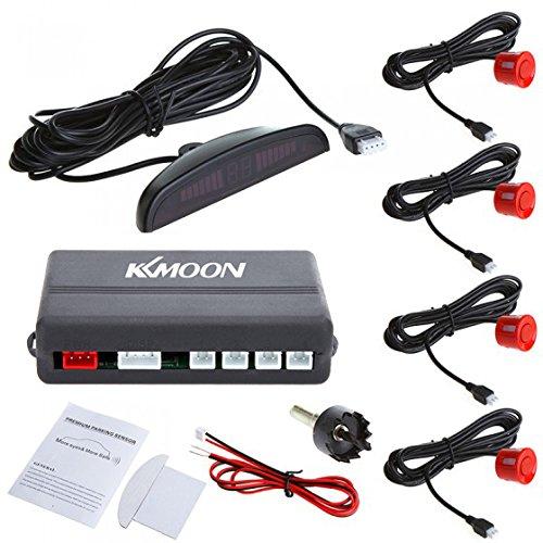 KKmoon Sistema di sensori di parcheggio Auto, Parcheggio Auto a LED retromarcia, Sistema Radar di Backup, con Display retroilluminato + 4 sensori, Rosso