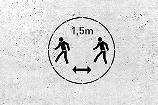 Schablone für Gebotszeichen 1,5m Abstand halten  für Wand und Boden