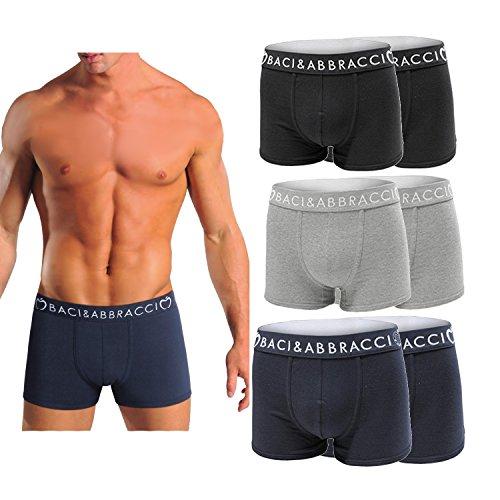 SET 6 BOXER/slip Uomo Baci & Abbracci Underwear Cotone Elasticizzato Colori Assortiti Tinta unita (Nero Grigio Blu) ; Fantasia (Nero Grigio Blu) (4ª/M, 6 Boxer Tinta Unita (2 Grigie, 2 Nere, 2 Blu))