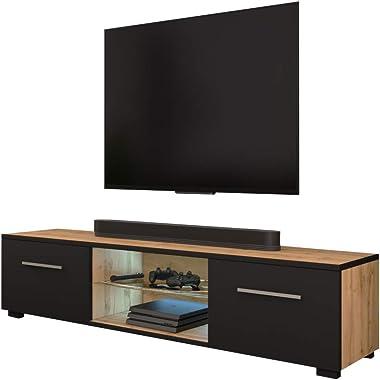 Selsey Meuble TV Bas Wotan chêne Mat/Noir Mat avec LED 140 x 40 x 36 cm