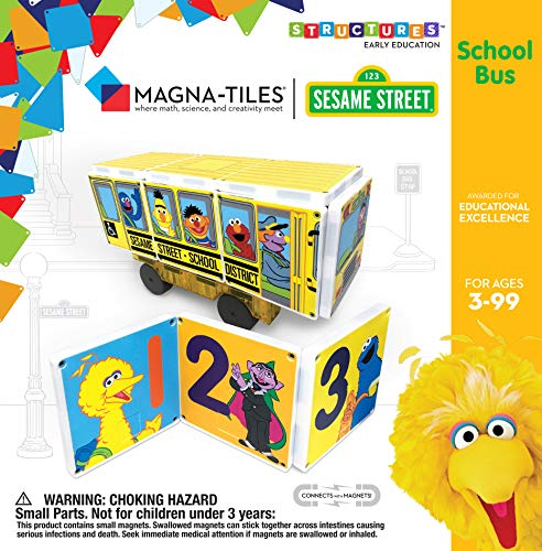Sesame Street School Bus Magna-Tile Structure Set by CreateOn, The Original Magnetic Building Tiles Making Learning Basic Numbers Fun and Hands-On, Educational Toy for Children Ages 3 Years +