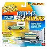 1960 Studebaker Pickup Truck w/Camper Shell Green w/Houseboat Ltd Ed 4552 pcs JL 50th Anniv. 1/64 Diecast Car by Johnny Lightning JLBT012A/ JLSP067
