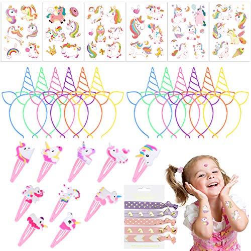 Lurrose Einhorn Mitgebsel Set, Frcolor Einhorn Stirnbänder Temporäre Tattoos für Kinder Mädchen Einhorn Haargummis Haarnadeln für Kindergeburtstag Mitgebsel,63 Stück
