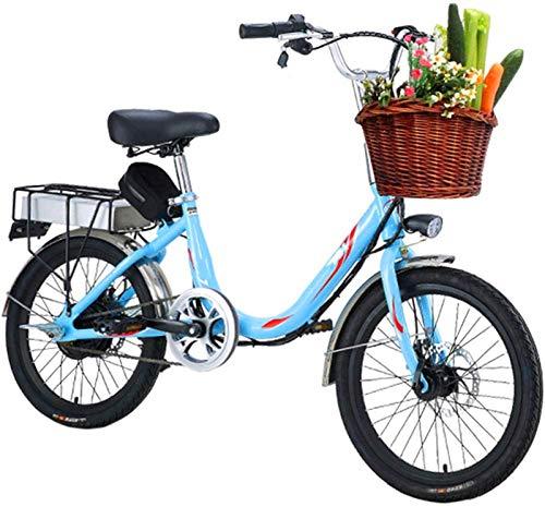 Elektrofahrrad, Erwachsene Lady Electric Bike, 7-Gang 20 Zoll Mini elektrisches Fahrrad 48V 8 / 10Ah-Batterie pendelt Ebike mit Rear Seat Dual-Scheibenbremsen,Fahrrad (Color : Blue, Size : 8A)