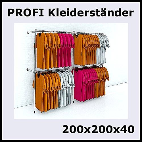 200x200x40 Profi Kleiderständer 200cm 2m Garderobenständer Chrom Silber - P200 !!! Reststücke !!!