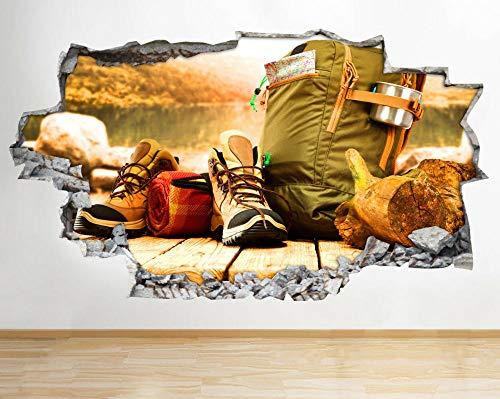 BAOWANG Pegatinas de pared Botas de senderismo Mochila Hobby Calcomanía de pared rota Pegatinas de arte 3D Habitación de vinilo adesivi da parete camera da letto 60 * 90cm