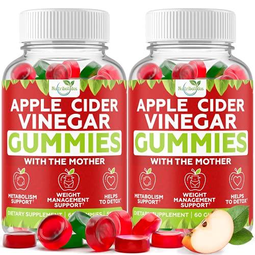 (2-Pack) Apple Cider Vinegar Gummies with The Mother for Metabolism Support & Detox - Acv Gummies for Appetite, Gummy Alternative to Capsules, Non-GMO, Amazing Taste, 120 Vegan Gummies