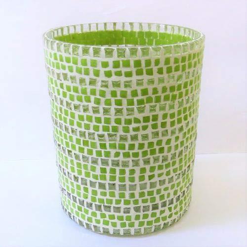 Windlicht Teelicht Mosaikmuster Glas grün weiß Colmore 10 x 13 cm