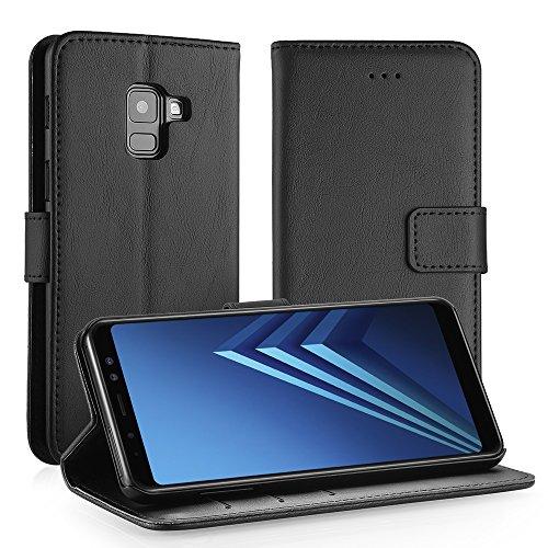 Simpeak Hülle Kompatibel mit Samsung Galaxy A8 2018, Handyhülle Kompatibel für Samsung Galaxy A8 2018 [Kartensteckplätze] [Stand Feature] [Magnetic Closure Snap] - Schwarz