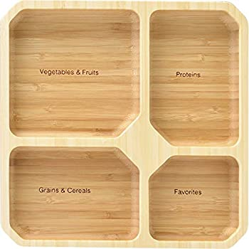 La Boos Square Portion Control Plates  4-Section  - MyPlate Healthy Diet Ratio Control or Weight Loss Aid plate - Made with Bamboo - BPA-Free Lunch Plate or Healthy Eating Plate