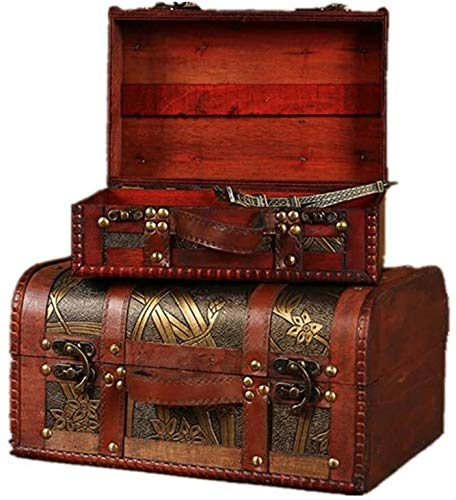 Suge Maletas Cajas de almacenamiento Conjunto De 2 decorativo Maleta madera caja de joyas de almacenamiento con hermoso patrón de narciso, for la decoración casera de novia de estilo de la vendimia De