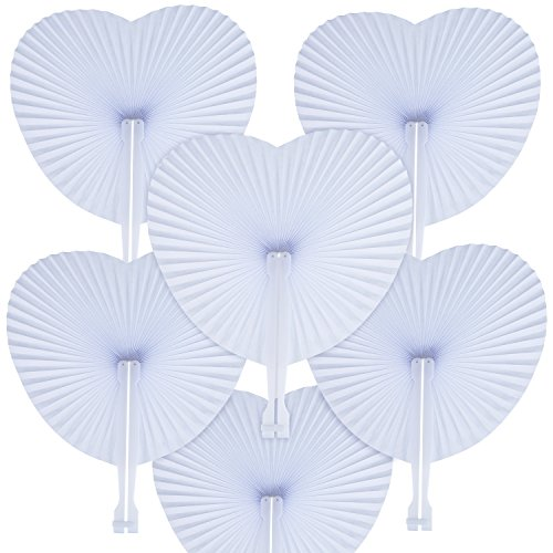 Pangda 24 Pack Folding Fans Paper Fans Heart Shaped Assortment with Plastic Handle for Wedding Favor Party Bag Filler, White