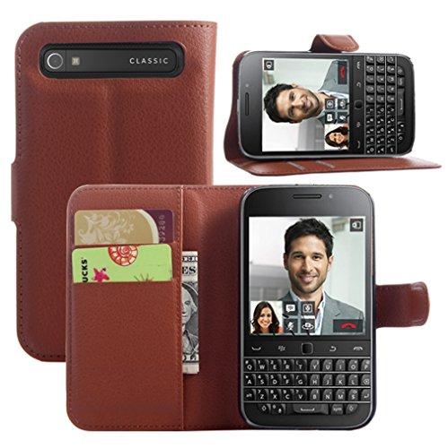 Manyip Ledertasche für BlackBerry Classic Q20, PU Ledertasche Flip Cover Wallet Hülle Handyhülle mit Stand Function Credit Card Slots Bookstyle Purse Design