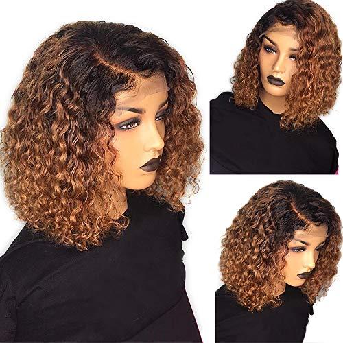 Riya Perruques de cheveux humains 13 x 4 1b/30 avec dentelle frontale pour femme noire - Cheveux brésiliens vierges bouclés - Densité de 150 % - 35,6