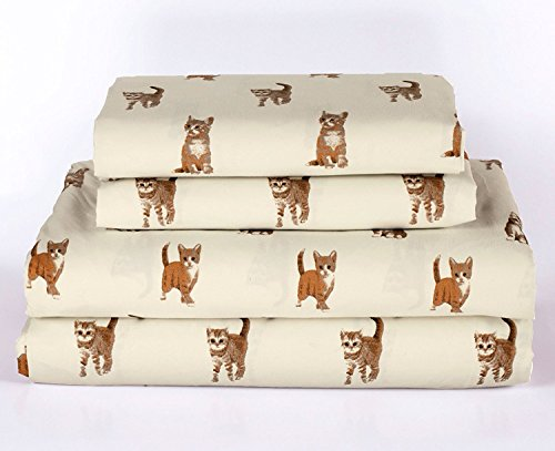 Cat Kitten King Size 4 Piece Sheet Set Microfiber Bedding, Orange Tabby Kitty Pet Animal Lover Gift