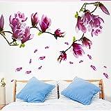 Wandaufkleber ZOZOSO Fernsehhintergrund-Wand-Aufkleber-Glasdekorations-Aufkleber-Garten-Ausgangsgroße Magnolie