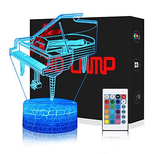 LED Lámpara de Mesa 3D Piano con Control Remoto Sensor Tacto, QiLiTd...