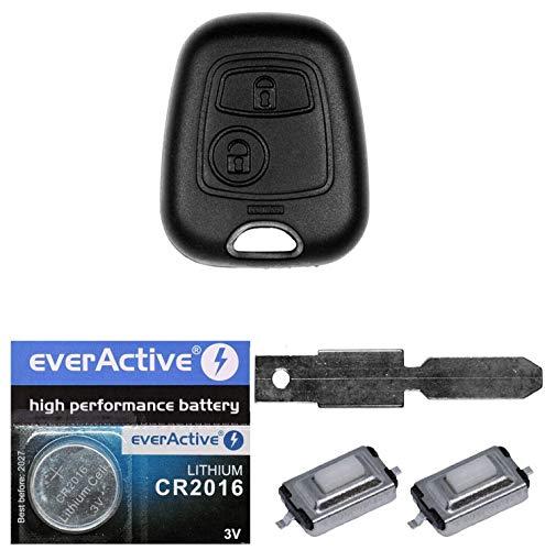 Auto Schlüssel Funk Fernbedienung 1x Gehäuse + 1x Rohling NE78 + 2X Mikrotaster + 1x CR2016 Batterie für Peugeot 206 SW CC 1998-2009