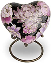 Cloisonne Blush Bronze Memorial Keepsake for Ashes - Extra Small - Holds Up to 3 Cubic Inches of Ashes - Cloisonne Pink Cremation Keepsake Urn for Ashes - Engraving Sold Separately