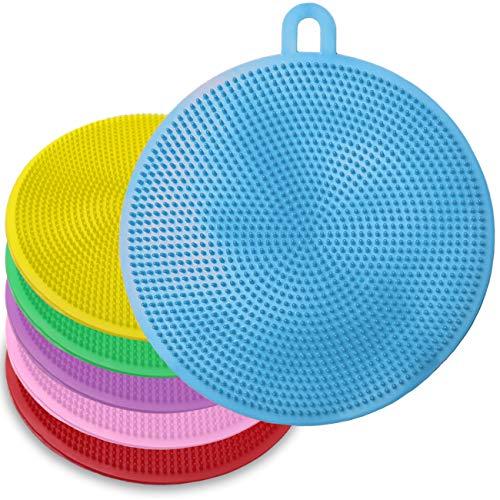 キッチンブラシ シリコン製 キッチン用品 食器洗い 野菜洗い 抗菌 防臭 耐熱 柔軟 再利用可能 6個セット