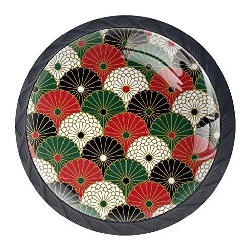 Schubladenknöpfe, japanisches Chrysanthemenmuster, rund, für Küchenschrank, Schrank, Schrank, Schrank, Tür, Heimdekoration