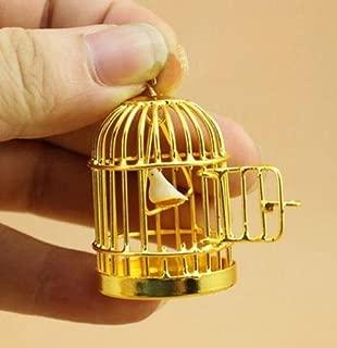 EatingBiting(R) 1:12 Dollhouse Miniature Furniture Metal Golden Bird Cage with Bird Garden Decor, Landscape Decor, Dollhouse Decoration Accessories, Charming Elegant Vivid