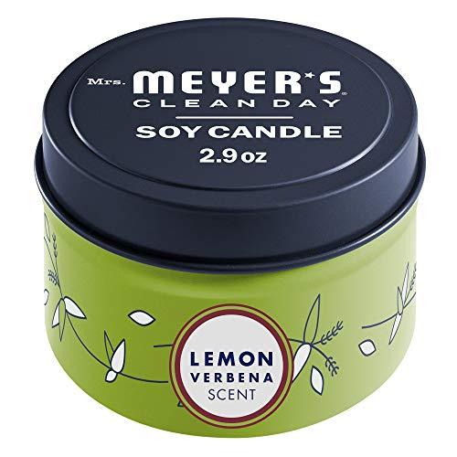Mrs. Meyer's Clean Day Scented Soy Candle, Tin Candle, Lemon Verbena Scent, 2.9 Oz