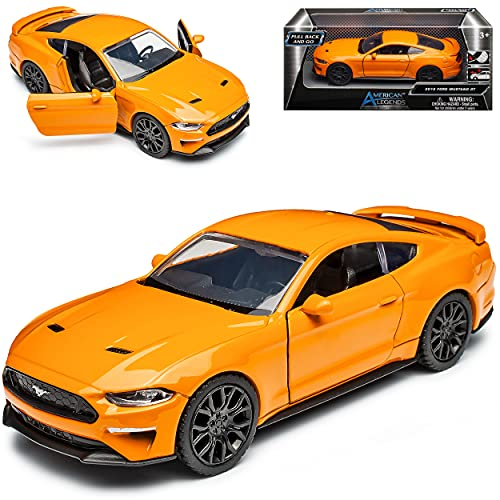 Motormax Ford Mustang VI Coupe Orange Modell Ab 2014 Version ab Facelift 2017 mit Rückzugsmotor ca 1/43 1/36-1/46 Modell Auto