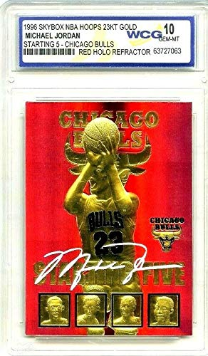 Merrick Mint Michael Jordan Autographed SKYBOX Starting 5' 1996 Refractor GEMMT 10 23KT Gold Card!