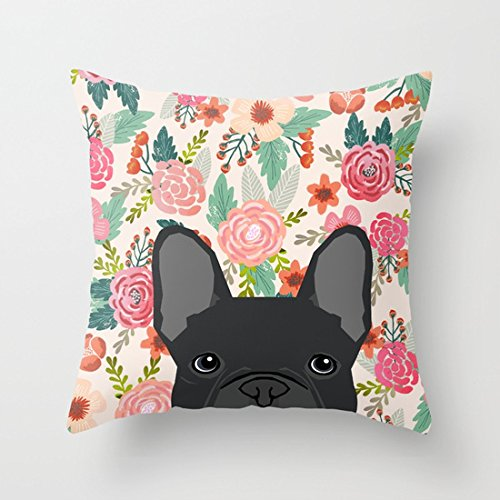 UOOPOO French Bulldog Florals Dog Portrait Pet Art Dog Breeds Frenchie Gifts Cotton Canvas Pillow Case 16 x 16 Inches Square Cushion Cover for Sofa Print One Side