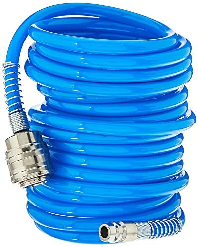 Güde 41400 SB Druckluft Spiralschlauch 5 M (mit Schnellkupplung und Stecknippel, Knickschutz, Schlauchmaterial aus PU)