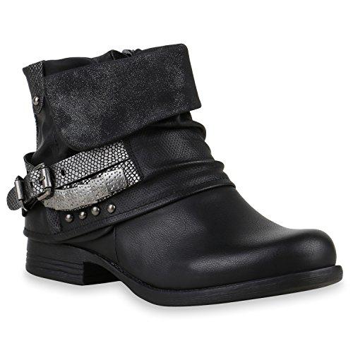 Damen Biker Boots Nieten Schnallen Stiefeletten Gr. 36-42 Schuhe 122503 Schwarz 38 Flandell