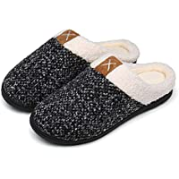 UBFEN Zapatillas de Estar por casa para Mujer Inverno Caliente de Peluche Zapatos Memory Foam Gris 36 37 EU