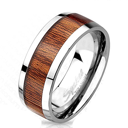 Bungsa® 62 (19.7) Titan Ring mit edlem braunem Holz Mittelring für Damen und Herren 60 62 64 67 (Silber Fingerring Partnerringe Verlobungsringe Trauringe Damenring Titaniumring)