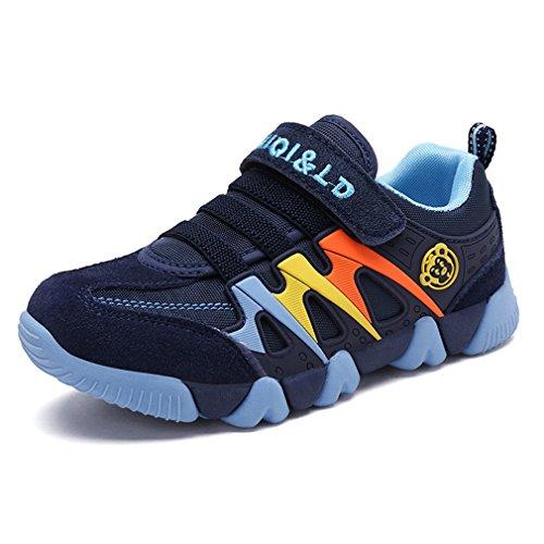 Turnschuhe Kinder Sneaker für Jungen Sportschuhe Mädchen Hallenschuhe Atmungsaktiv Laufschuhe Für Unisex-Kinder Outdoor Dunkelblau 26 EU=Etikettengröße:27