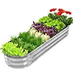 """Gadi raised garden bed kit for vegetables flower galvanized metal planter boxs designed for easy diy and cleaning not… 8 more suitable raised garden bed size and volume:67""""l x 20""""w x10""""h, 7 cu. Ft. You can cultivate plants, like vegetables, flowers, herbs in your patio, yard, garden, and greenhouse. Built to last: the raised garden bed body made of steel plates galvanized layer and 2 layers of anti-corrosion paint, strong anti-rust performance to keep your garden bed looking its best for years to come. Open-bottom garden bed: built with an open base to prevent water buildup and rot, while allowing roots easy access to nutrients. Side ventilation:side ventilation can enhance the respiration of plant roots and facilitate the removal of excess water. Keep your plants healthy!"""