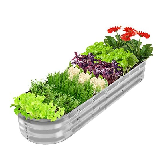"""Gadi raised garden bed kit for vegetables flower galvanized metal planter boxs designed for easy diy and cleaning not… 2 more suitable raised garden bed size and volume:67""""l x 20""""w x10""""h, 7 cu. Ft. You can cultivate plants, like vegetables, flowers, herbs in your patio, yard, garden, and greenhouse. Built to last: the raised garden bed body made of steel plates galvanized layer and 2 layers of anti-corrosion paint, strong anti-rust performance to keep your garden bed looking its best for years to come. Open-bottom garden bed: built with an open base to prevent water buildup and rot, while allowing roots easy access to nutrients. Side ventilation:side ventilation can enhance the respiration of plant roots and facilitate the removal of excess water. Keep your plants healthy!"""