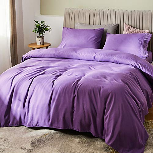 SONORO KATE Bed Sheet Set Bamboo Sheets Deep Pockets 16' Eco Friendly Wrinkle Free Sheets Hypoallergenic Hotel Bedding Machine Washable Silky Soft (Purple, King)