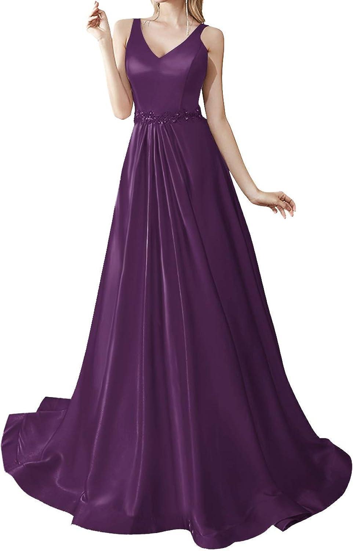 SUNFURA Women's Beading V Neck Sleeveless Long Prom Evening Wedding Party Dress
