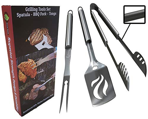 BBQ Grilling Tools Set  Heavy Duty 20% Thicker Stainless Steel  Professional Grade Barbecue Accessories  3 Piece Utensils Kit Includes Spatula Tongs amp Fork  Unique Birthday Gift Idea for Dad