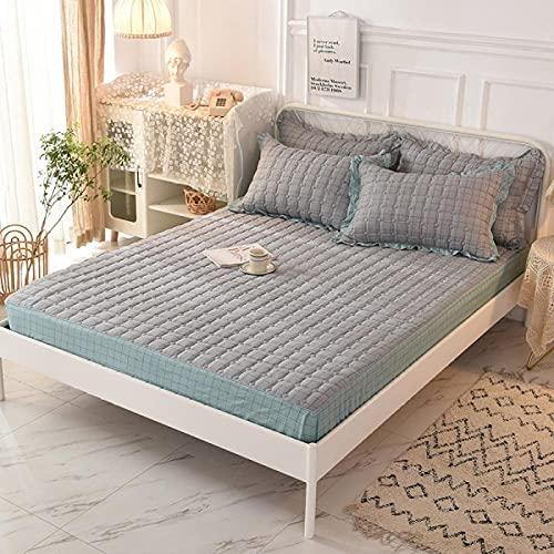 XGguo colchón Acolchado, antialérgico antiácaros, Funda Antipolvo de una Sola Pieza para sábana de algodón-17_150 * 200CM