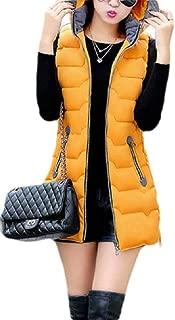 Macondoo Womens Hoodie Fall Winter Waistcoat Jacket Warm Zipper Vest